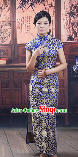 Traditional Ancient Chinese Republic of China Cheongsam, Asian Chinese Chirpaur Long Blue Silk Qipao Dress Clothing for Women