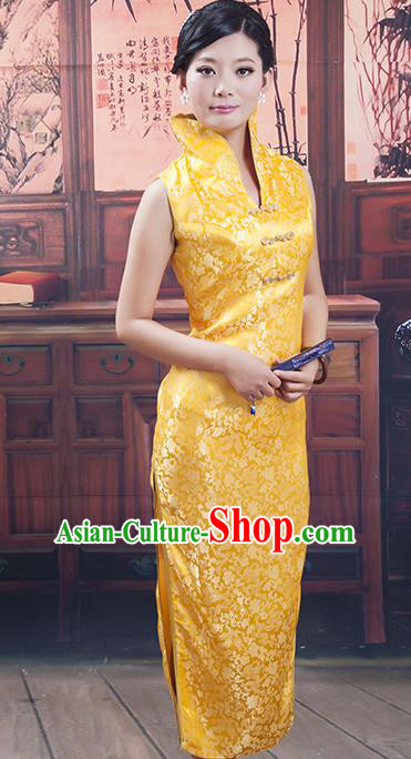 Traditional Ancient Chinese Republic of China Cheongsam, Asian Chinese Chirpaur Long Golden Silk Qipao Dress Clothing for Women