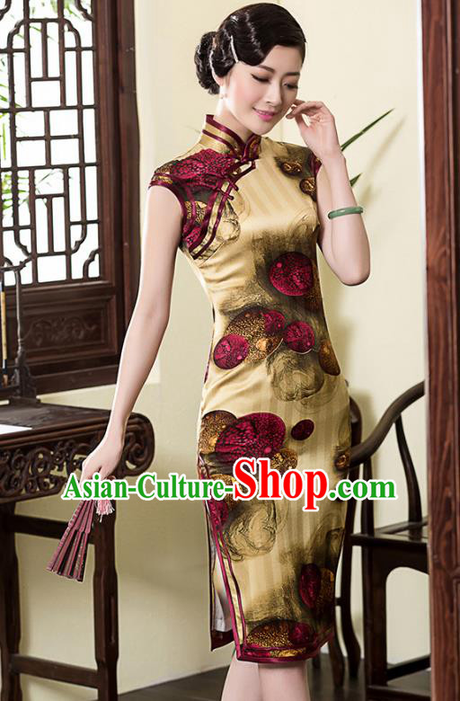 Traditional Chinese National Costume Elegant Hanfu Printing Yellow Silk Cheongsam, China Tang Suit Plated Buttons Chirpaur Dress for Women