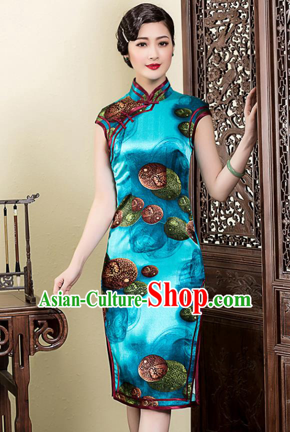 Traditional Chinese National Costume Elegant Hanfu Printing Blue Silk Cheongsam, China Tang Suit Plated Buttons Chirpaur Dress for Women