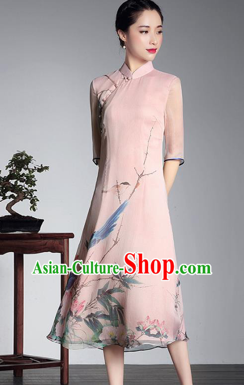 Traditional Chinese National Costume Elegant Hanfu Pink Silk Cheongsam Printing Dress, China Tang Suit Plated Buttons Chirpaur Dress for Women