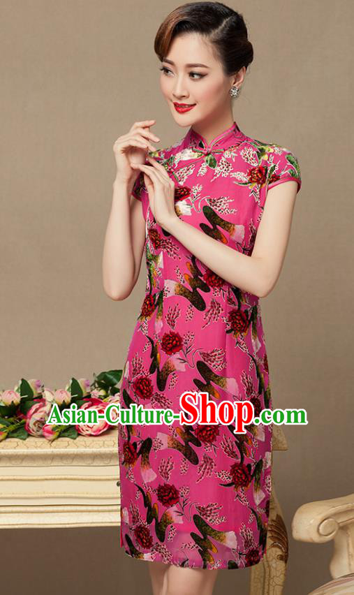 Traditional Chinese National Costume Elegant Hanfu Pink Printing Cheongsam, China Tang Suit Plated Buttons Chirpaur Dress for Women