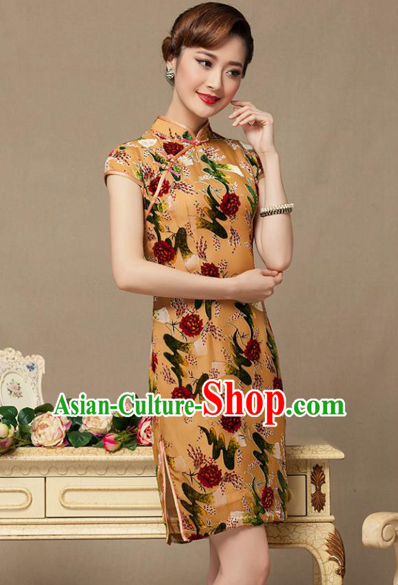 Traditional Chinese National Costume Elegant Hanfu Khaki Printing Cheongsam, China Tang Suit Plated Buttons Chirpaur Dress for Women