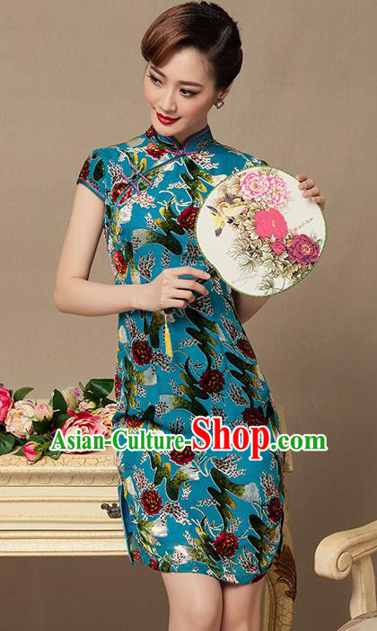Traditional Chinese National Costume Elegant Hanfu Green Printing Cheongsam, China Tang Suit Plated Buttons Chirpaur Dress for Women