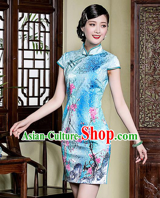 Traditional Chinese National Costume Elegant Hanfu Blue Printing Peach Blossom Cheongsam, China Tang Suit Plated Buttons Qipao Chirpaur Dress for Women