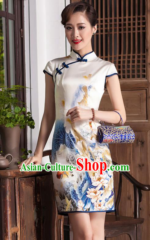 Traditional Chinese National Costume Elegant Hanfu Cheongsam Printing Flowers Silk Coat, China Tang Suit Plated Buttons Chirpaur Coat for Women