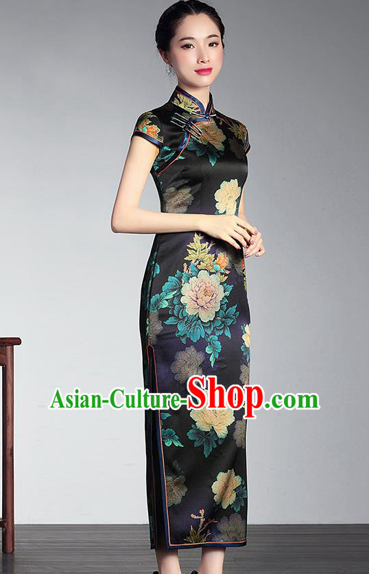 Traditional Chinese National Costume Elegant Hanfu Cheongsam Printing Flowers Black Silk Coat, China Tang Suit Plated Buttons Chirpaur Coat for Women