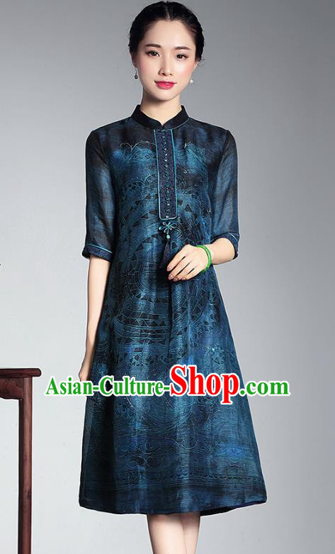 Traditional Chinese National Costume Elegant Hanfu Cheongsam Blue Linen Printing Cheongsam, China Tang Suit Plated Buttons Chirpaur Dress for Women