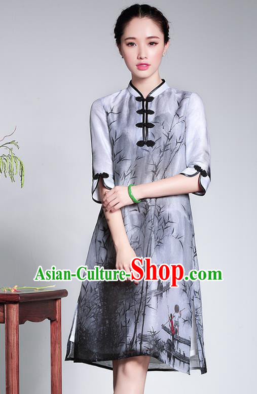 Traditional Chinese National Costume Elegant Hanfu Printing Bamboo Qipao Dress Cheongsam, China Tang Suit Plated Buttons Chirpaur for Women