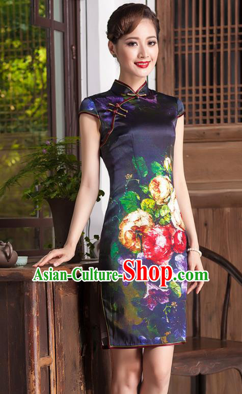 Traditional Chinese National Costume Elegant Hanfu Printing Silk Qipao Dress Cheongsam, China Tang Suit Plated Buttons Chirpaur for Women