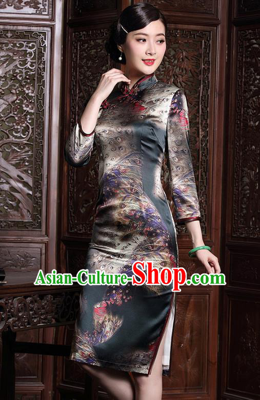 Traditional Chinese National Costume Elegant Hanfu Cheongsam Printing Silk Qipao Dress, China Tang Suit Plated Buttons Chirpaur for Women