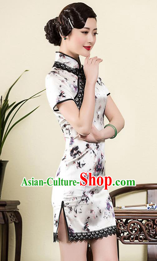 Traditional Chinese National Costume Elegant Hanfu Cheongsam Printing White Silk Qipao Dress, China Tang Suit Plated Buttons Chirpaur for Women