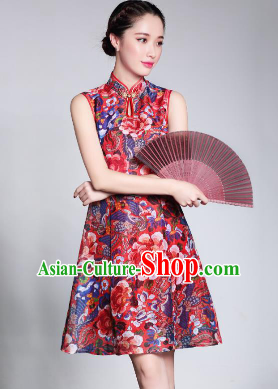 Traditional Chinese National Costume Elegant Hanfu Plated Buttons Red Dress, China Tang Suit Cheongsam for Women
