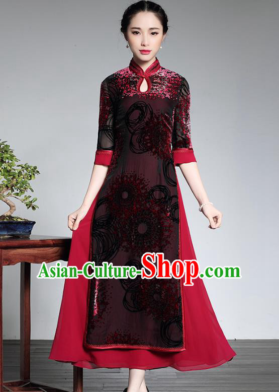 Traditional Chinese National Costume Long Qipao Dress, China Tang Suit Chirpaur Velvet Cheongsam for Women