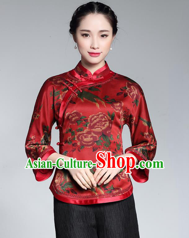 a82f6b0a280f8 Traditional Chinese National Costume Plated Buttons Red Silk Qipao Blouse