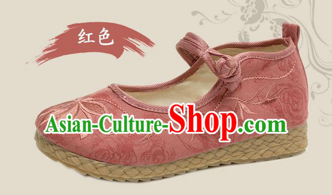 Traditional Chinese National Embroidered Shoes Red Linen Shoes, China Handmade Hanfu Embroidery Lotus Shoes for Kids