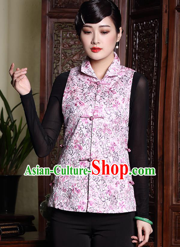 Asian Republic of China Young Lady Retro Plated Buttons Pink Cheongsam Vests, Traditional Chinese Qipao Waistcoat Tang Suit Upper Outer Garment for Women