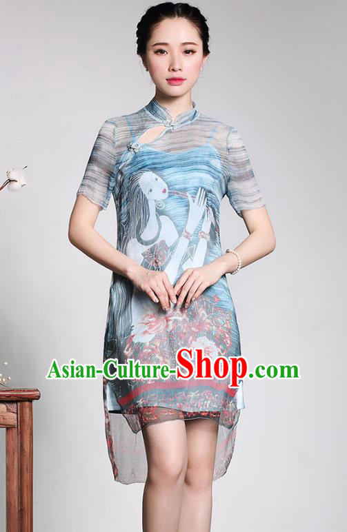 Asian Republic of China Young Lady Retro Plated Buttons Printing Blue Cheongsam, Traditional Chinese Silk Qipao Tang Suit Dress for Women