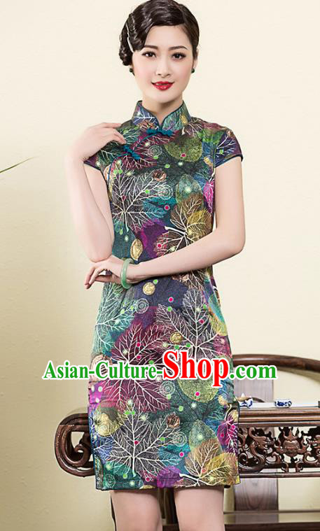 Asian Republic of China Young Lady Retro Plated Buttons Printing Cheongsam, Traditional Chinese Silk Qipao Tang Suit Dress for Women