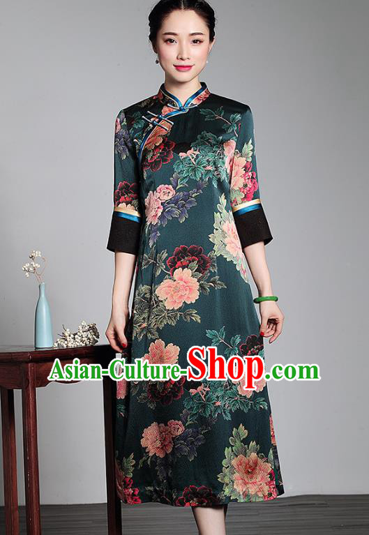 Asian Republic of China Young Lady Retro Plated Buttons Dark Green Silk Cheongsam, Traditional Chinese Printing Qipao Tang Suit Dress for Women