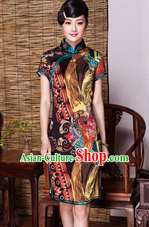 Asian Republic of China Young Lady Retro Plated Buttons Silk Cheongsam, Traditional Chinese Printing Qipao Tang Suit Dress for Women