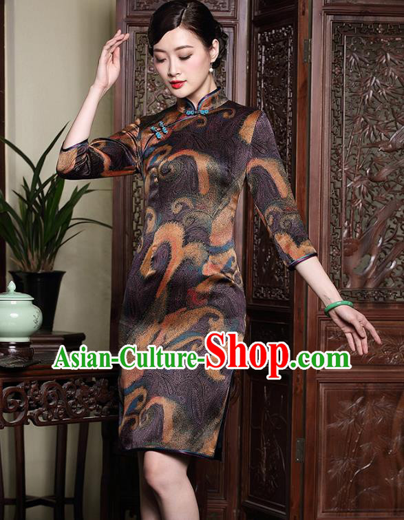 Asian Republic of China Young Lady Retro Plated Buttons Brown Silk Cheongsam, Traditional Chinese Wedding Qipao Tang Suit Dress for Women