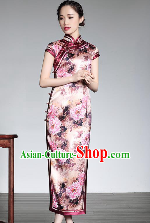 Asian Republic of China Young Lady Retro Plated Buttons Pink Cheongsam, Traditional Chinese Silk Qipao Tang Suit Dress for Women