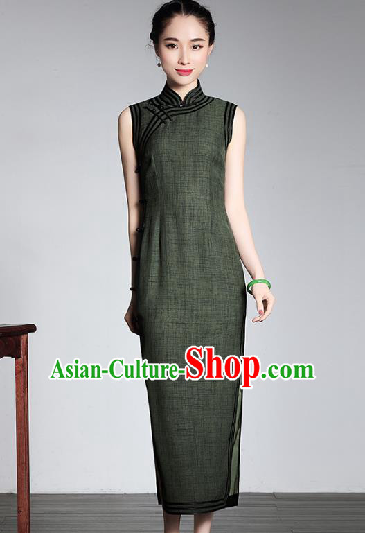 Asian Republic of China Top Grade Plated Buttons Green Cheongsam, Traditional Chinese Tang Suit Qipao Dress for Women
