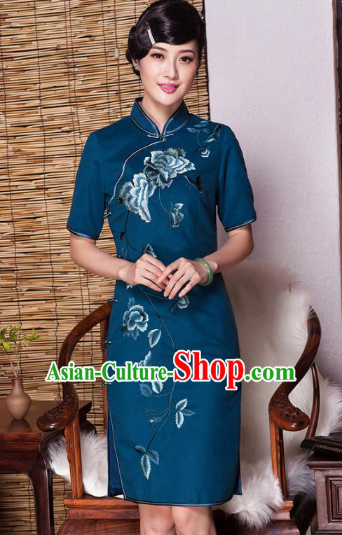 Asian Republic of China Top Grade Plated Buttons Blue Embroidered Cheongsam, Traditional Chinese Tang Suit Qipao Dress for Women