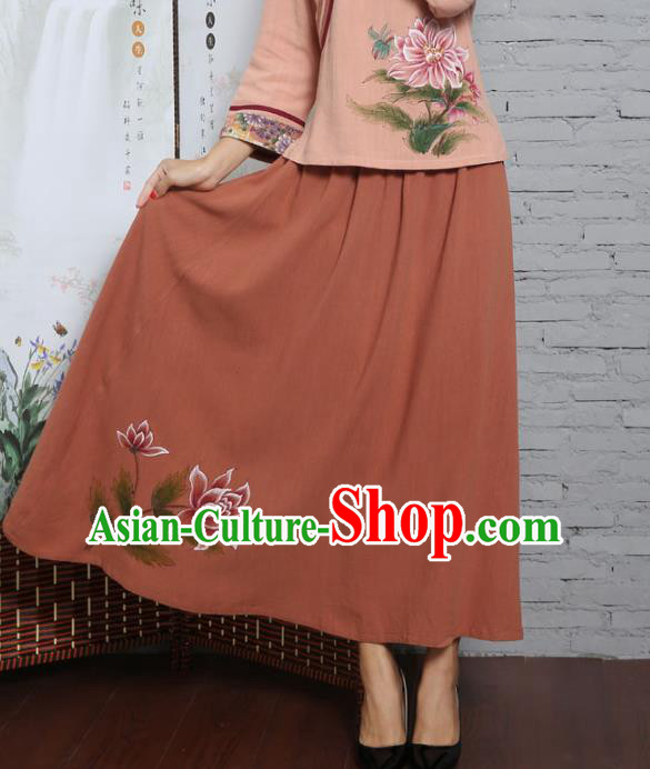 Asian China Hand Painting Orange Linen Bust Skirt, Traditional Chinese Tang Suit Hanfu Skirts for Women