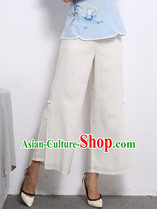 Traditional Chinese National Costume Loose Pants, Elegant Hanfu Embroidered Chiffon Wide leg Pants, China Ethnic Minorities Tang Suit Ultra-wide-leg Trousers for Women