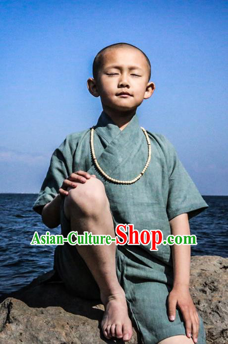 Asian China National Costume Green Linen Monk Clothing, Traditional Chinese Tang Suit Zen Clothing for Kids