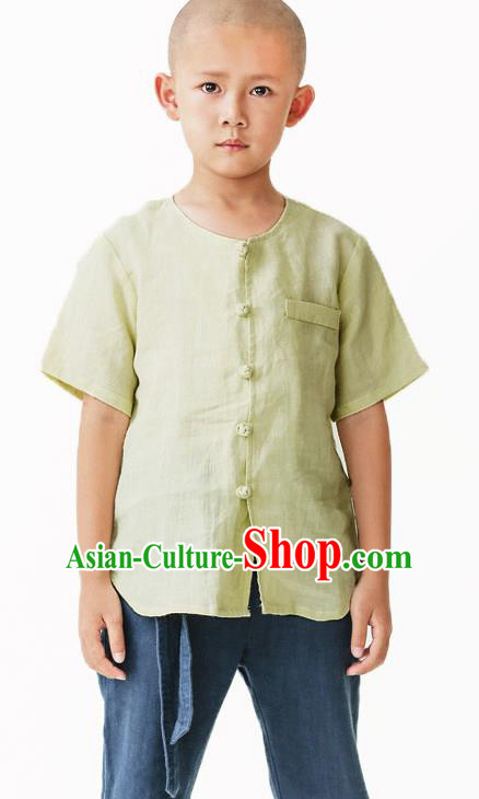 Asian China National Costume Green Linen Kung Fu Shirts, Traditional Chinese Tang Suit Upper Outer Garment Clothing for Kids
