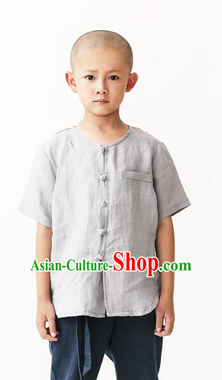 Asian China National Costume Grey Linen Kung Fu Shirts, Traditional Chinese Tang Suit Upper Outer Garment Clothing for Kids