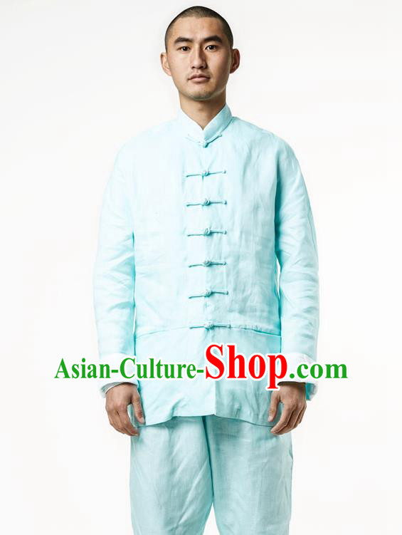 Asian China National Green Linen Costume Martial Arts Kung Fu Training Uniform, Traditional Chinese Tang Suit Shaolin Wushu Clothing for Men