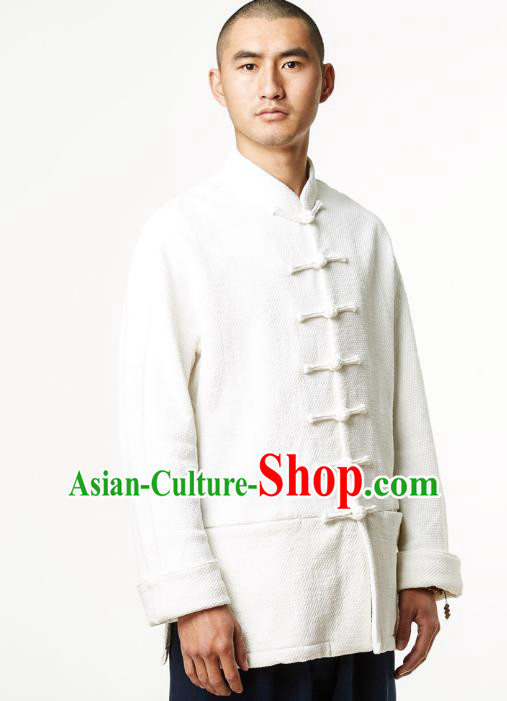 Asian China National White Linen Costume Martial Arts Kung Fu Shirts, Traditional Chinese Tang Suit Upper Outer Garment Clothing for Men