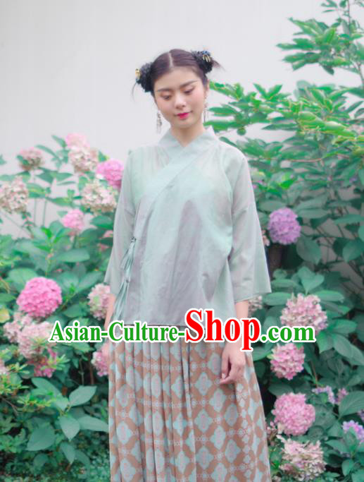 Asian China National Costume Green Linen Hanfu Shirts, Traditional Chinese Tang Suit Slant Opening Upper Outer Garment Clothing for Women