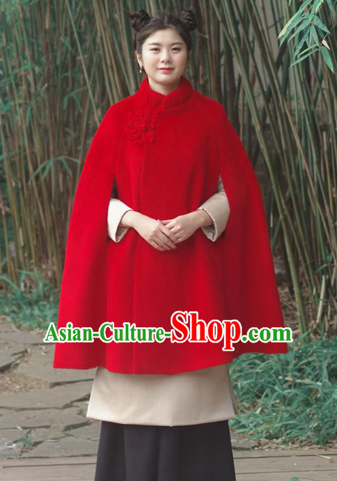 Asian China National Costume Slant Opening Red Woolen Hanfu Cloak, Traditional Chinese Tang Suit Cheongsam Cape Upper Outer Garment Clothing for Women