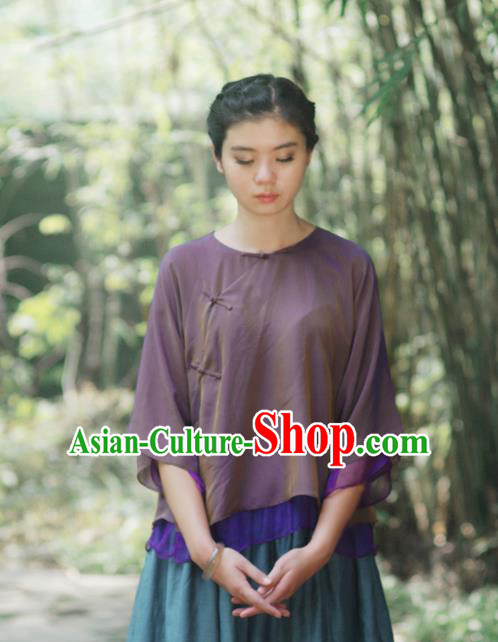 Asian China National Costume Slant Opening Purple Silk Hanfu Blouse, Traditional Chinese Tang Suit Cheongsam Shirts Upper Outer Garment Clothing for Women