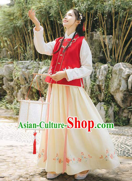 Asian China Ming Dynasty Palace Lady Embroidered Costume, Traditional Ancient Chinese Elegant Hanfu Red Vest Blouse and Skirt for Women