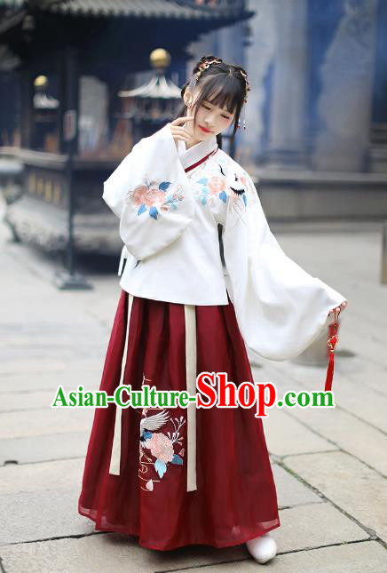 Asian China Ming Dynasty Palace Lady Wedding Costume Embroidery White Blouse and Red Skirt, Traditional Ancient Chinese Princess Elegant Hanfu Clothing for Women