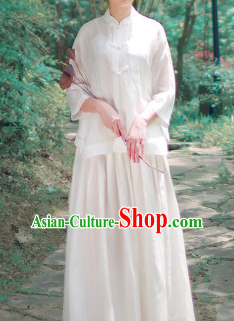 Asian China National Costume Hanfu Plated Buttons Qipao White Shirts Upper Outer Garment, Traditional Chinese Tang Suit Cheongsam Blouse for Women