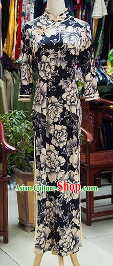Traditional Ancient Chinese Republic of China Cheongsam, Asian Chinese Chirpaur Printing Flowers Black Qipao Dress Clothing for Women