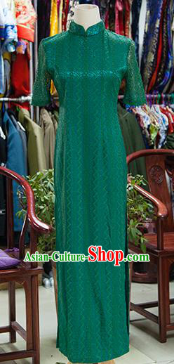 Traditional Ancient Chinese Republic of China Green Silk Cheongsam, Asian Chinese Chirpaur Printing Qipao Dress Clothing for Women