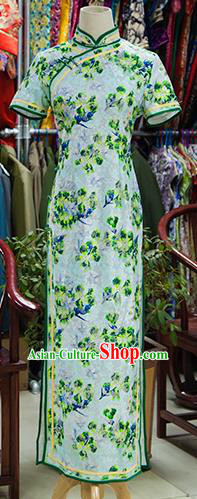 Traditional Ancient Chinese Republic of China Green Cheongsam, Asian Chinese Chirpaur Printing Qipao Dress Clothing for Women