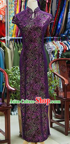 Traditional Ancient Chinese Republic of China Purple Cheongsam, Asian Chinese Chirpaur Printing Silk Qipao Dress Clothing for Women
