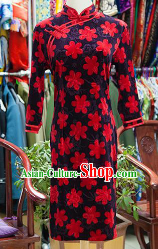 Traditional Ancient Chinese Republic of China Cheongsam, Asian Chinese Chirpaur Printing Red Flowers Qipao Dress Clothing for Women