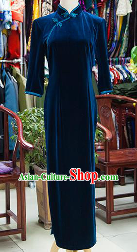 Traditional Ancient Chinese Republic of China Blue Velvet Cheongsam, Asian Chinese Chirpaur Qipao Dress Clothing for Women