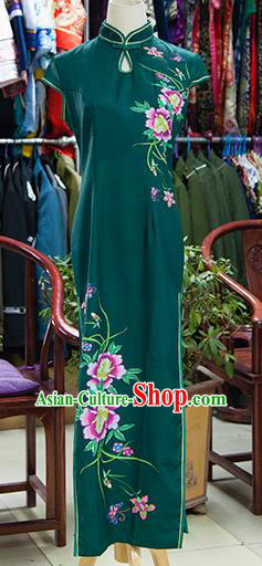 Traditional Ancient Chinese Republic of China Green Silk Cheongsam, Asian Chinese Chirpaur Printing Peony Qipao Dress Clothing for Women