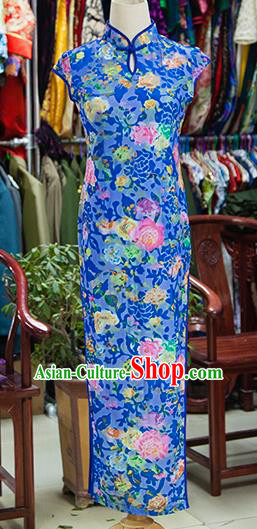 Traditional Ancient Chinese Republic of China Blue Silk Cheongsam, Asian Chinese Chirpaur Printing Peony Qipao Dress Clothing for Women